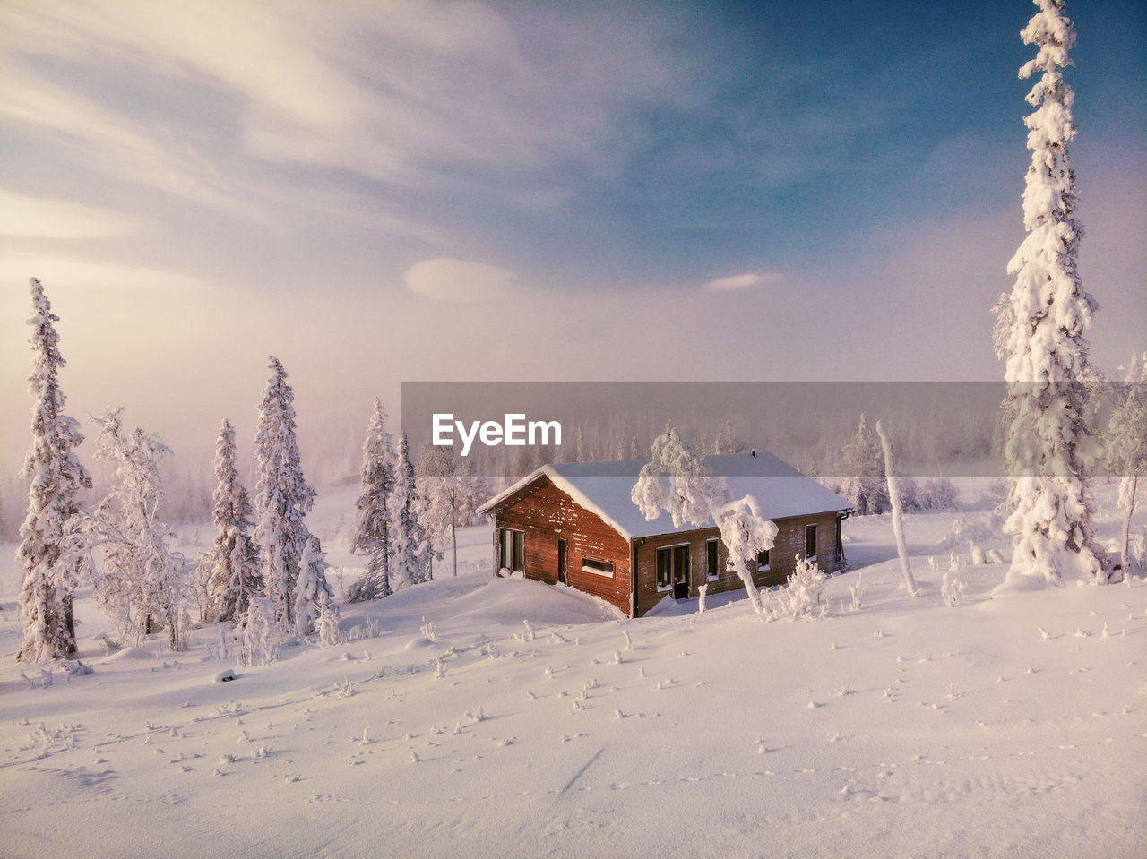 winter, cold temperature, snow, sky, cloud - sky, built structure, architecture, tranquil scene, nature, environment, tree, tranquility, scenics - nature, beauty in nature, land, plant, building exterior, building, house, no people, outdoors, cottage, snowcapped mountain, cabin