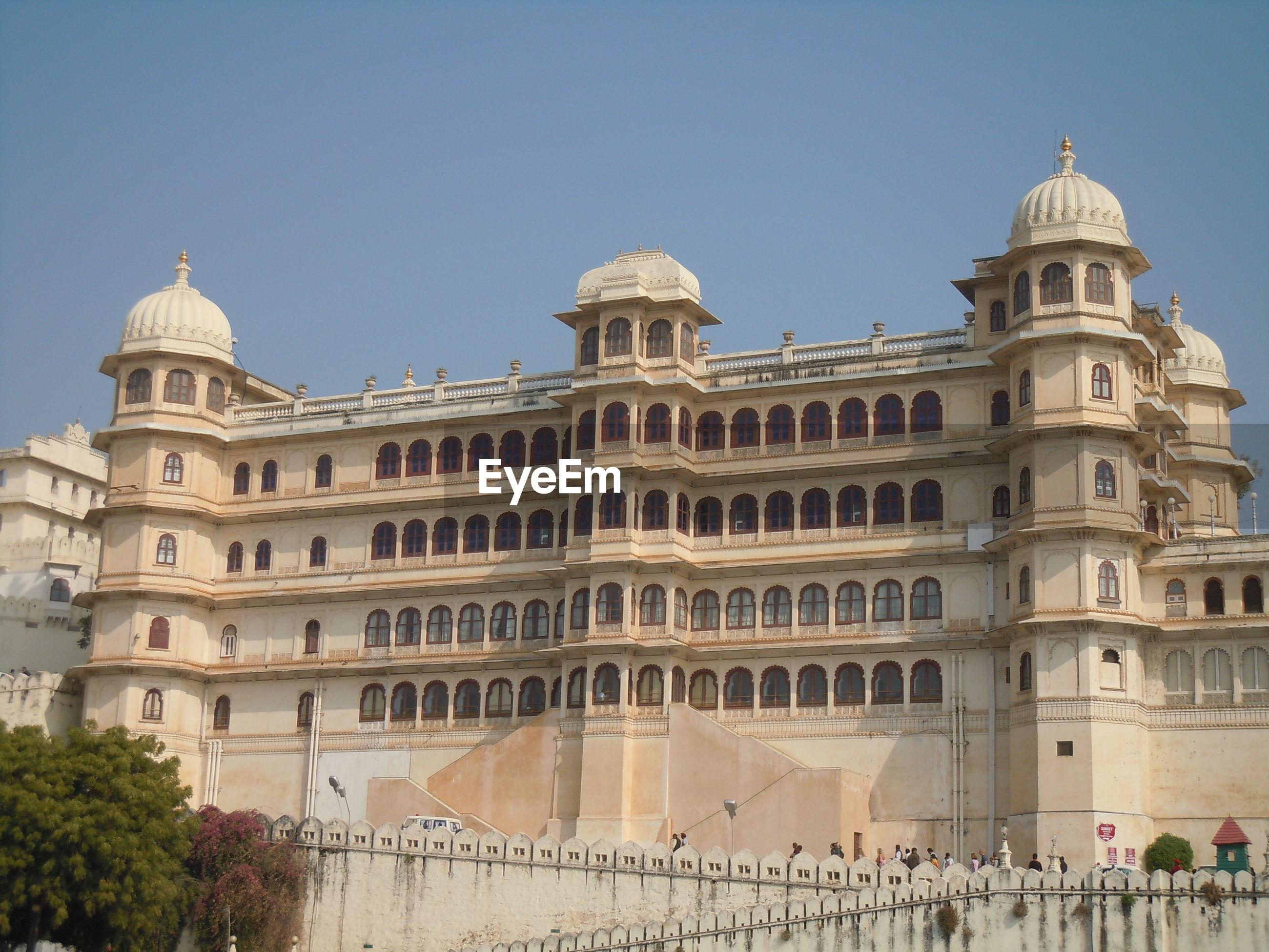 View of historic building against clear sky
