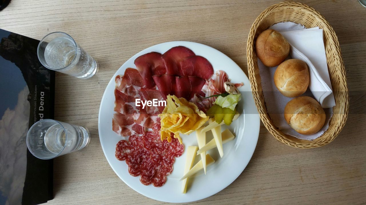 food and drink, food, table, freshness, plate, high angle view, indoors, ready-to-eat, meat, no people, sausage, drink, directly above, breakfast, bowl, healthy eating, day, close-up