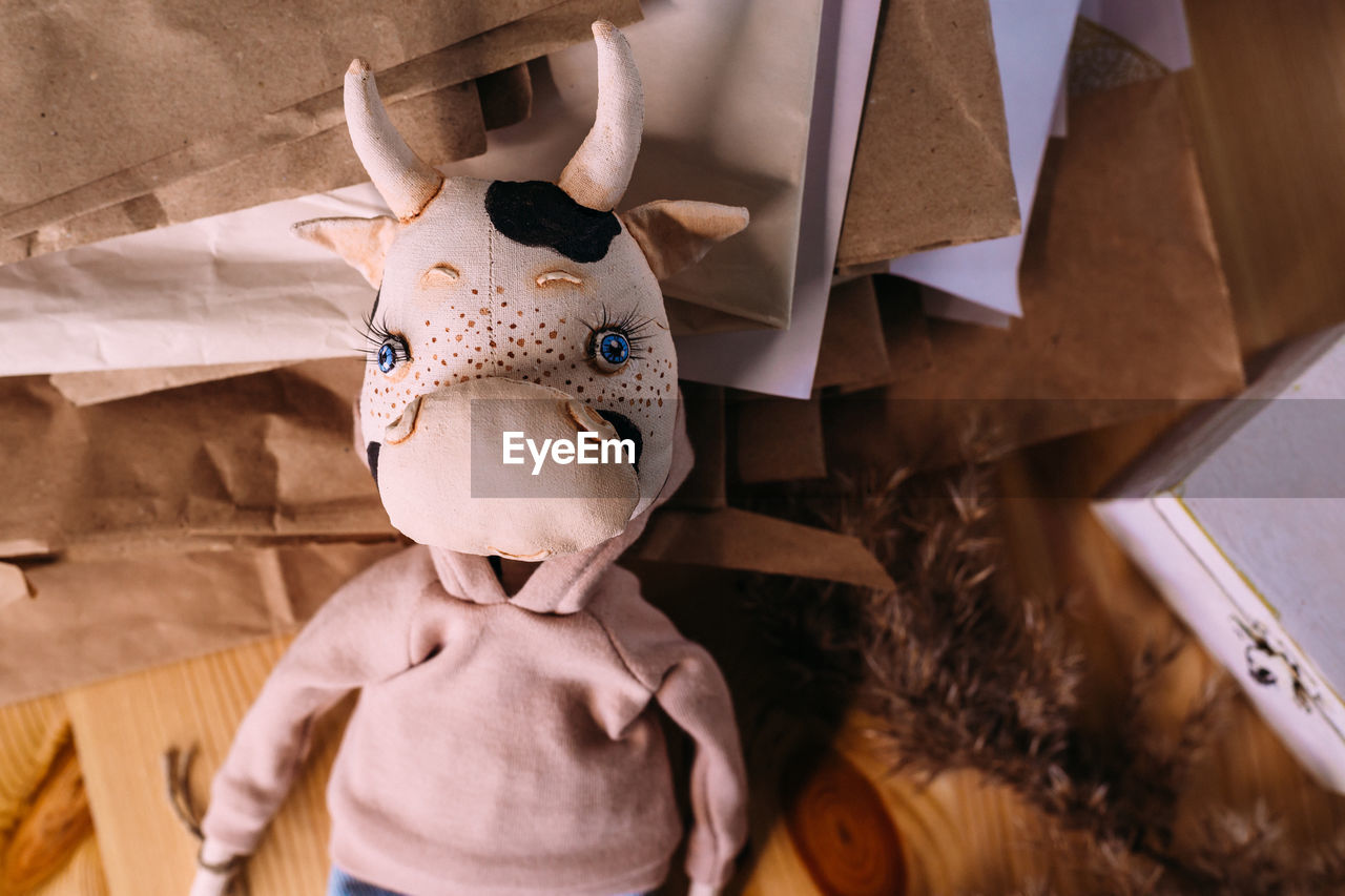 Author's original self-made doll bull and cow with a beautiful painted face