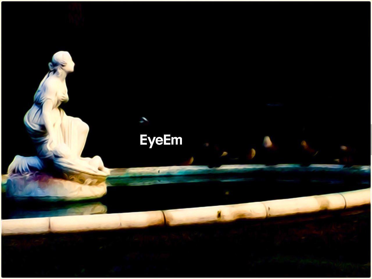 statue, sculpture, night, no people, close-up, indoors, illuminated