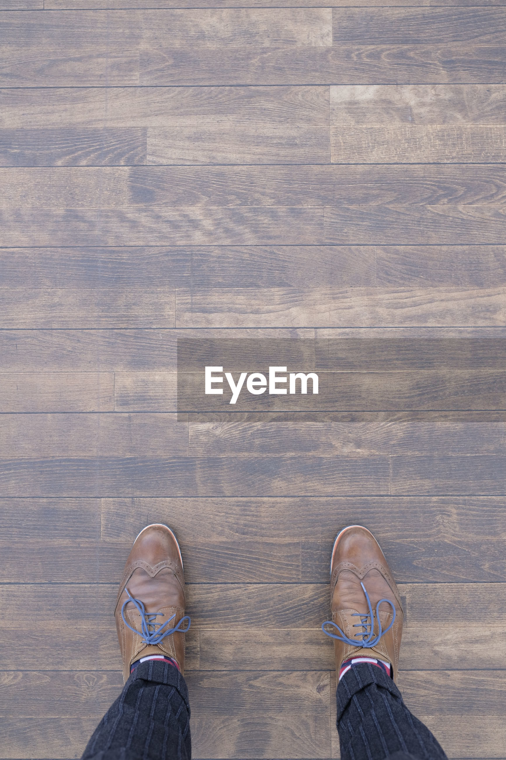 Low section of person standing on hardwood floor