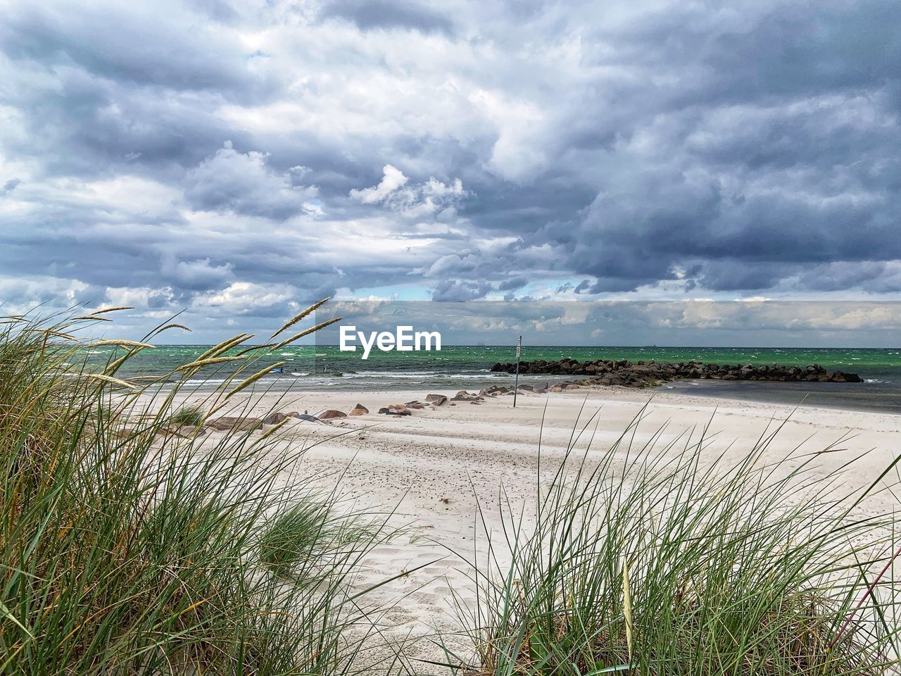 cloud - sky, sky, plant, land, beauty in nature, water, scenics - nature, beach, grass, day, tranquility, nature, growth, sand, tranquil scene, sea, no people, overcast, outdoors, marram grass
