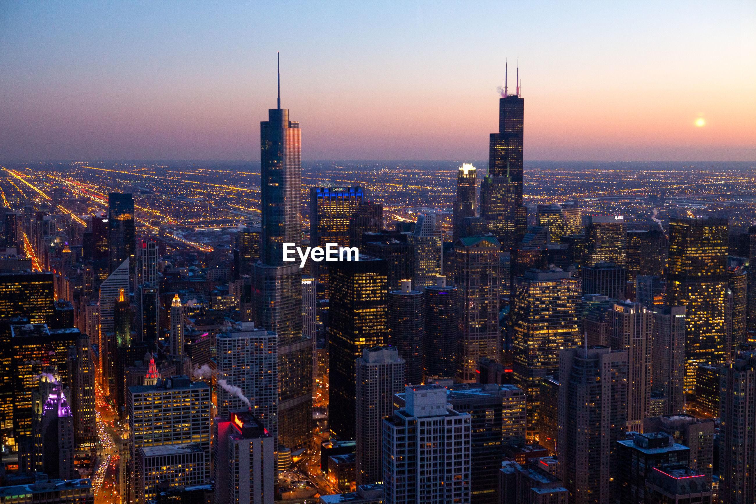 Chicago skyline during sunset