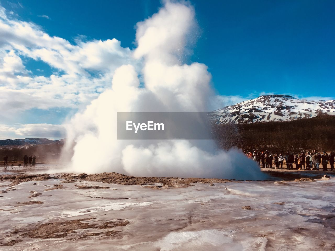scenics - nature, sky, beauty in nature, power in nature, geology, physical geography, non-urban scene, hot spring, cloud - sky, geyser, water, heat - temperature, mountain, steam, power, nature, motion, day, tourism, no people, outdoors