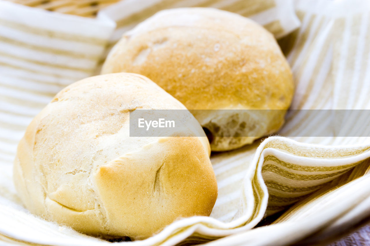 Close-Up Of Buns With Napkin In Basket