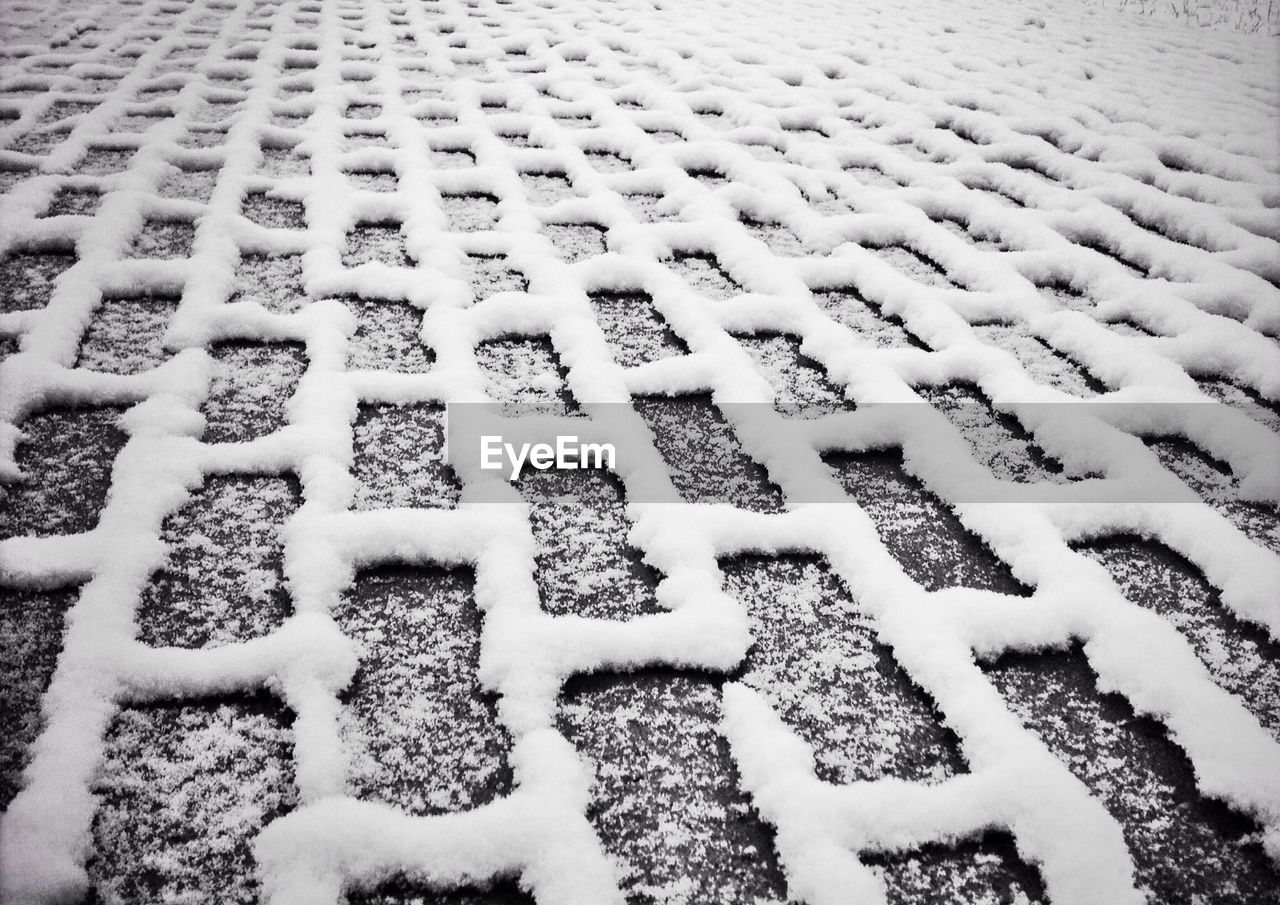 Full Frame Shot Of Snow Covered Footpath