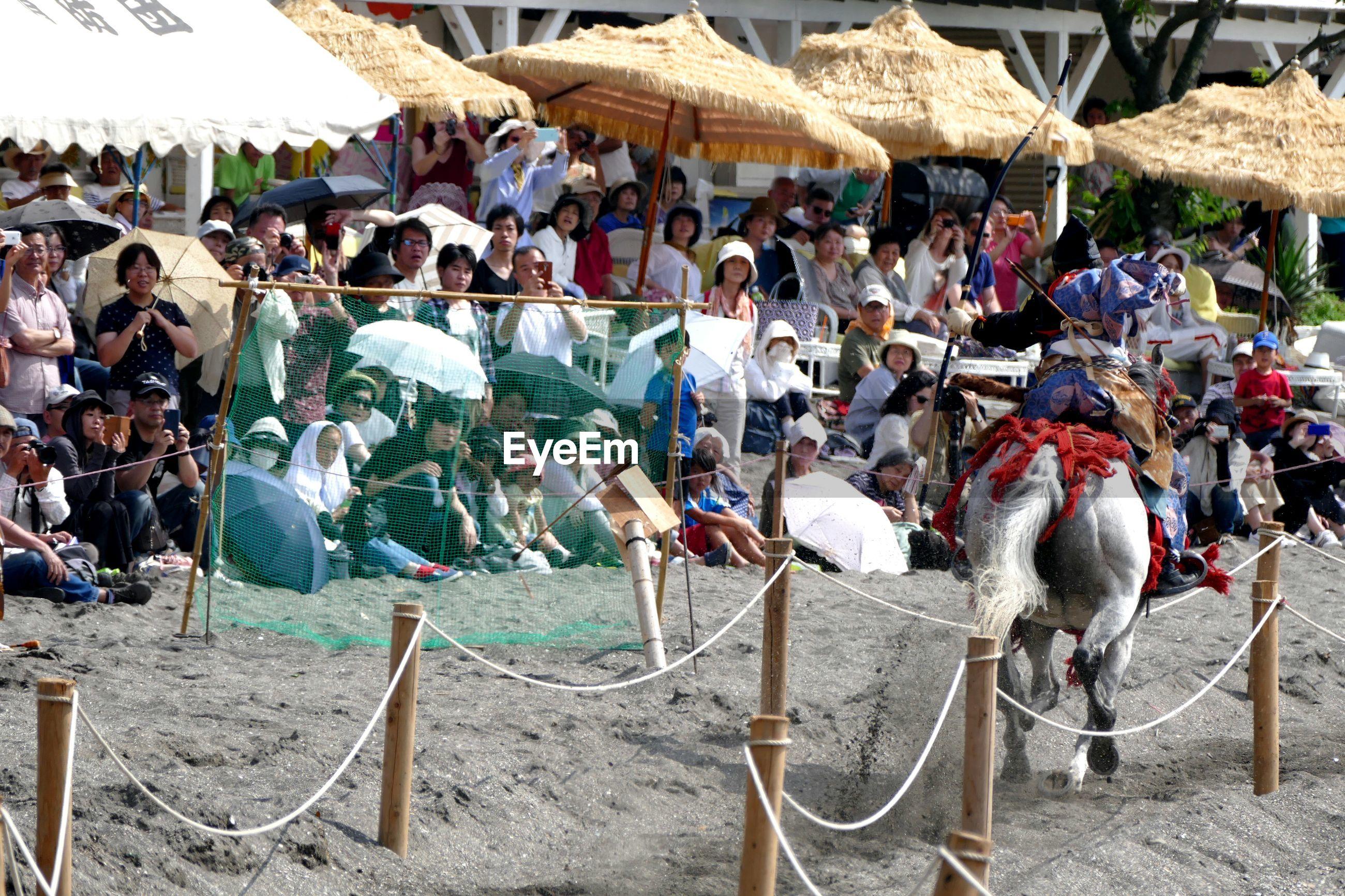 Crowd on sand