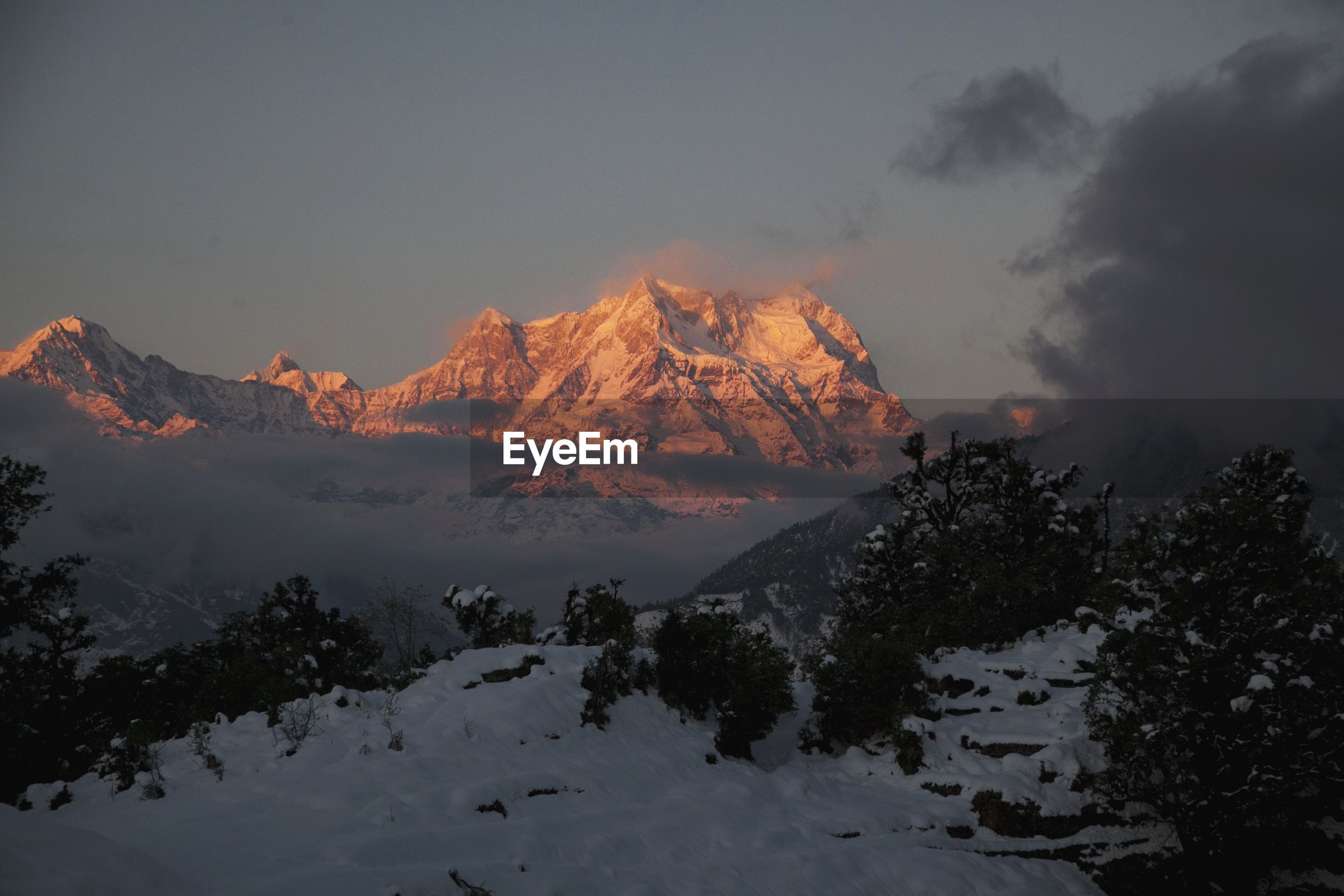 View of mountains in winter