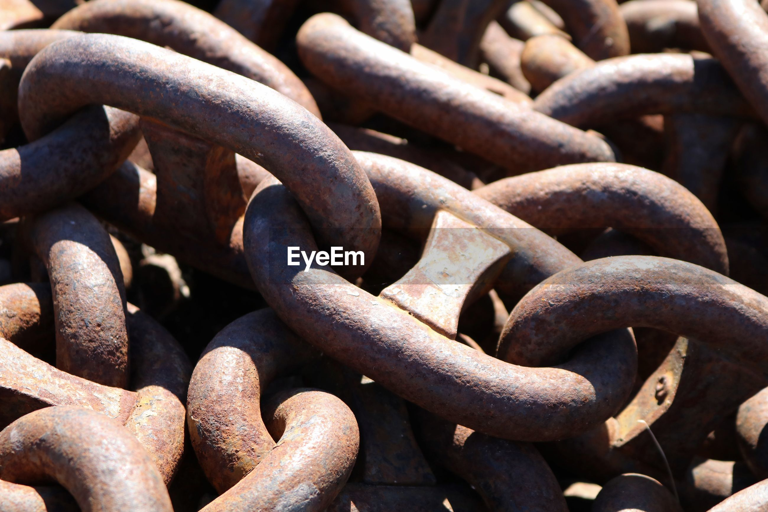 Close-up of rusty metallic chain