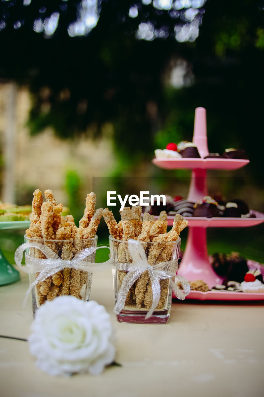 Variety of desserts and snacks on table