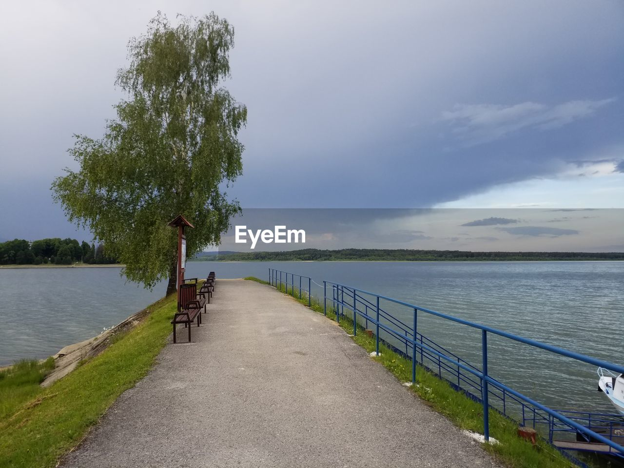 water, sky, beauty in nature, tranquility, plant, scenics - nature, tranquil scene, cloud - sky, nature, tree, railing, sea, day, direction, non-urban scene, the way forward, idyllic, outdoors