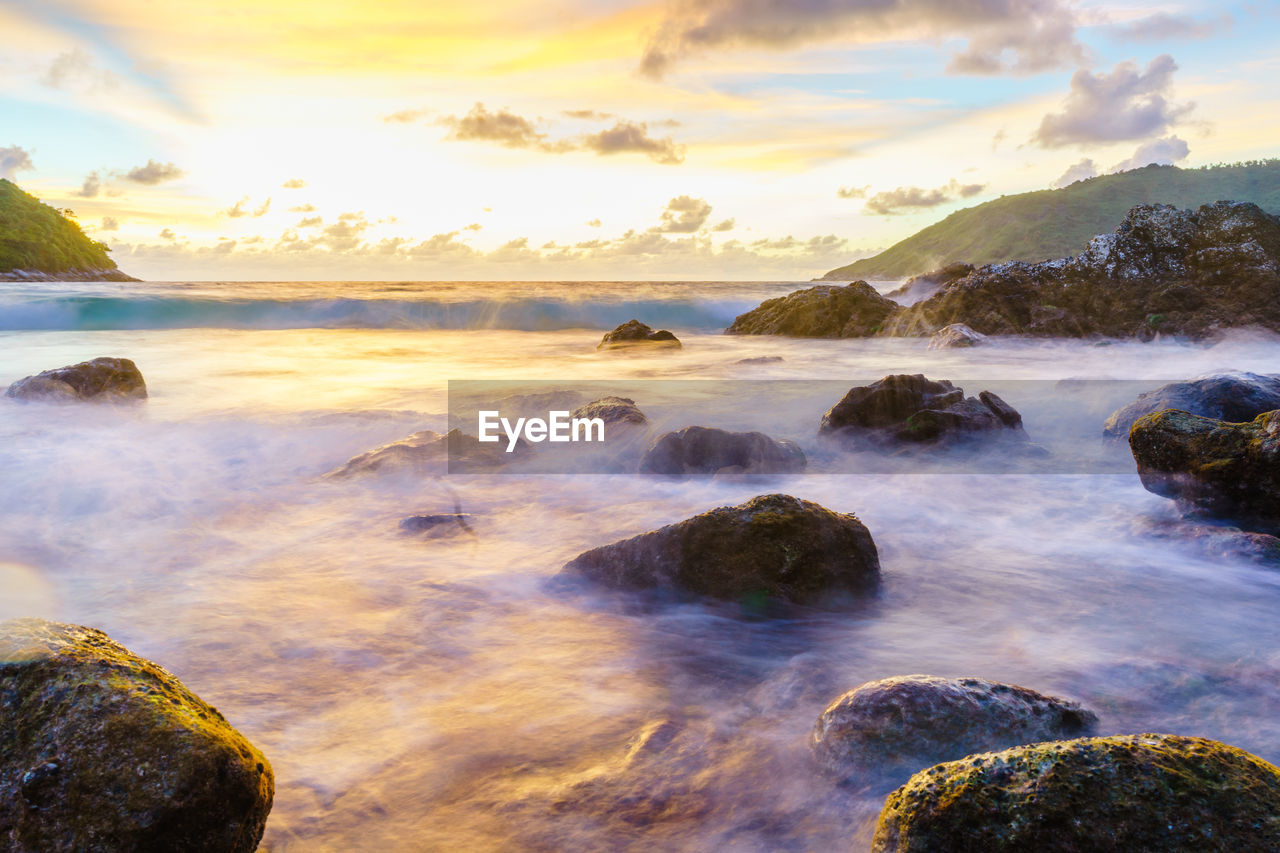 water, beauty in nature, scenics - nature, sky, rock, solid, sunset, rock - object, cloud - sky, sea, tranquility, nature, tranquil scene, no people, land, motion, idyllic, long exposure, non-urban scene, outdoors, flowing water