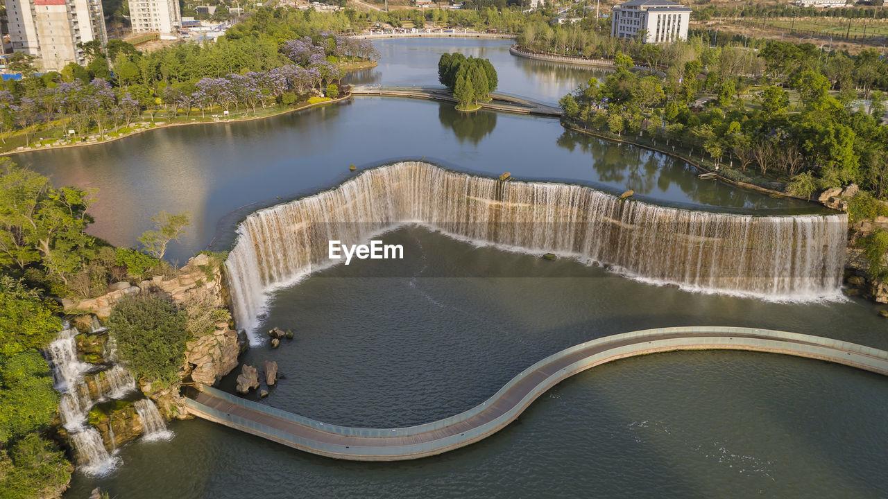 High angle view of waterfall