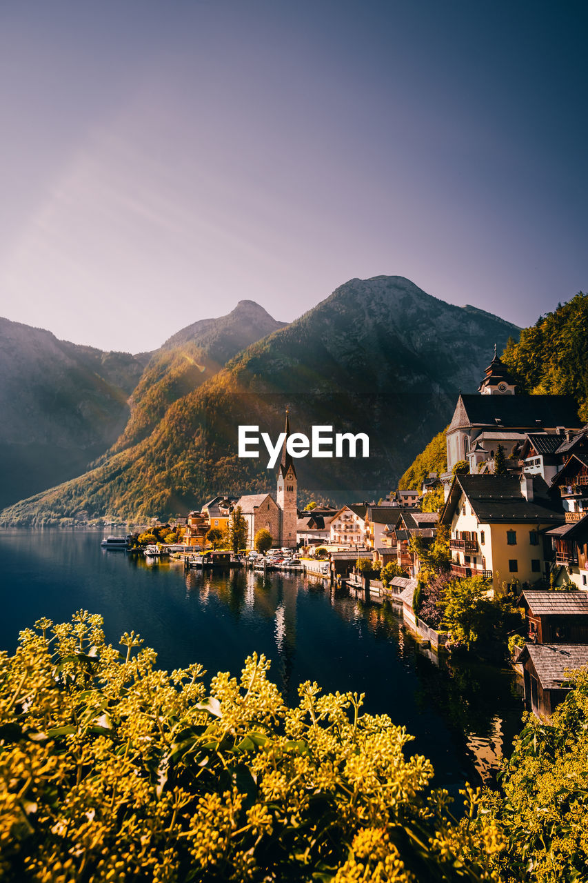 High angle view of trees and buildings against sky in hallstatt austria