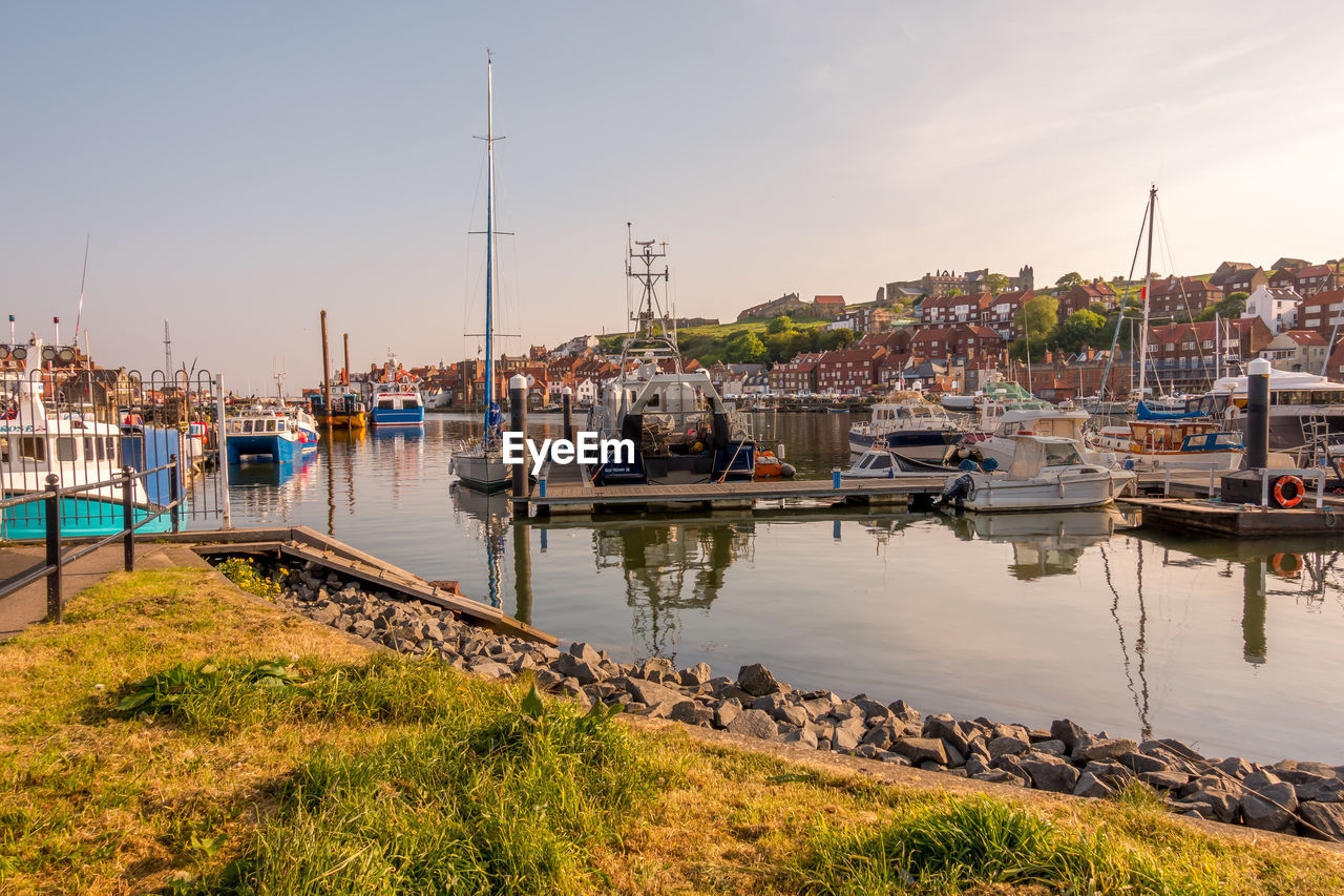 water, nautical vessel, mode of transportation, transportation, sky, moored, harbor, sailboat, architecture, no people, nature, built structure, building exterior, mast, day, pole, outdoors, reflection, city, marina, yacht, canal, port, fishing industry, fishing boat