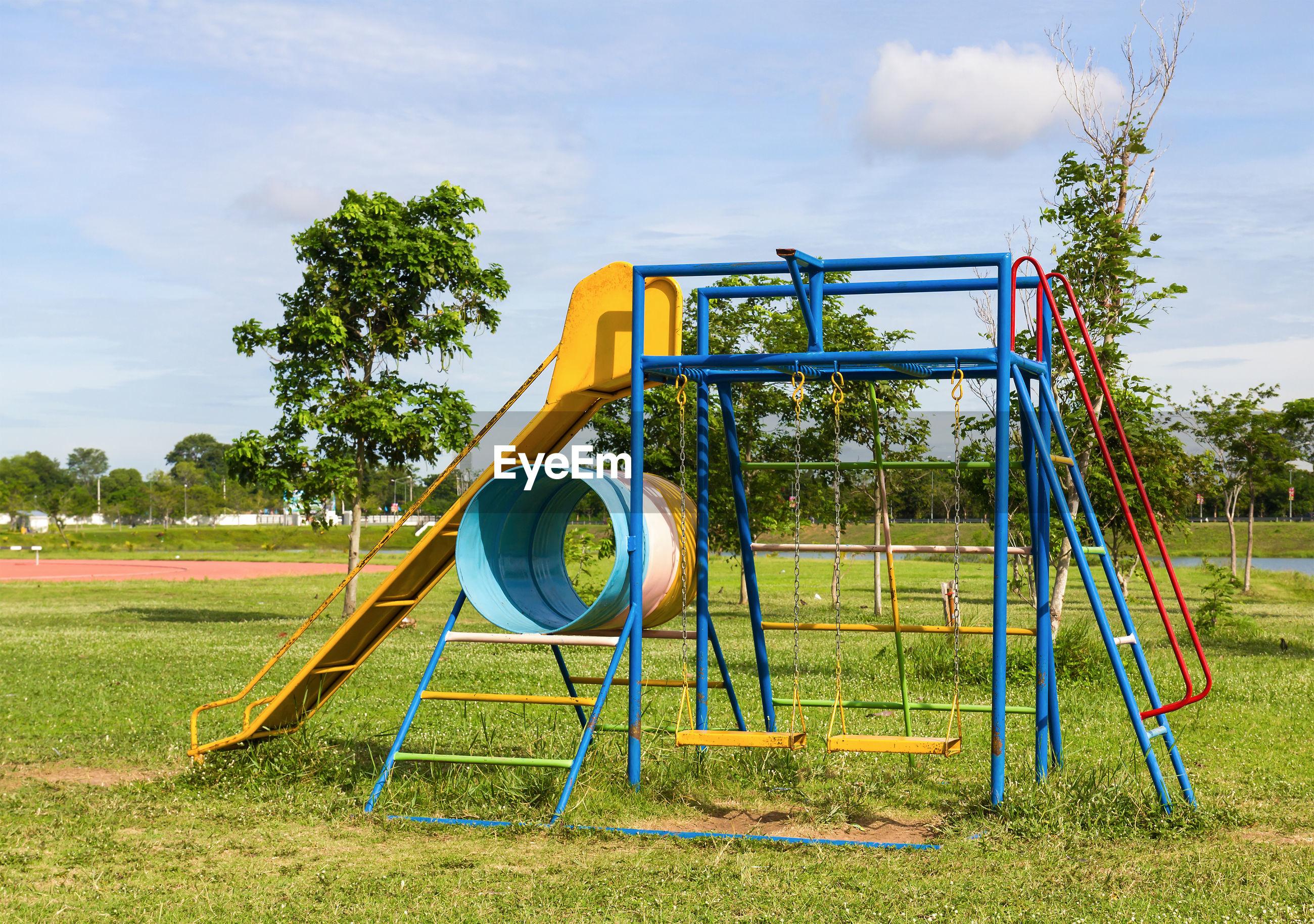 Playground against sky