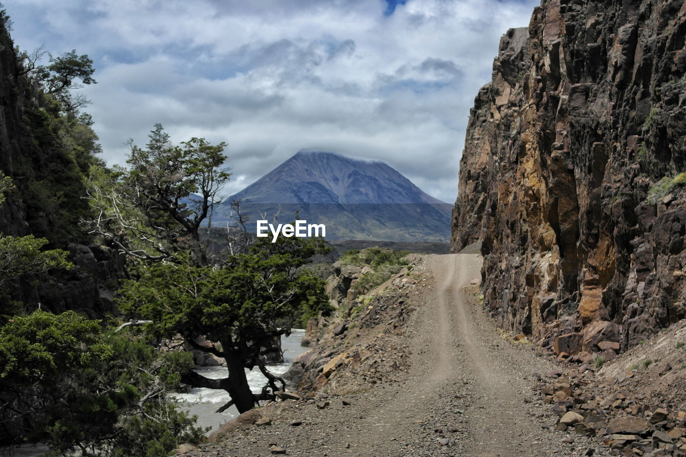 View of dirt road on mountain