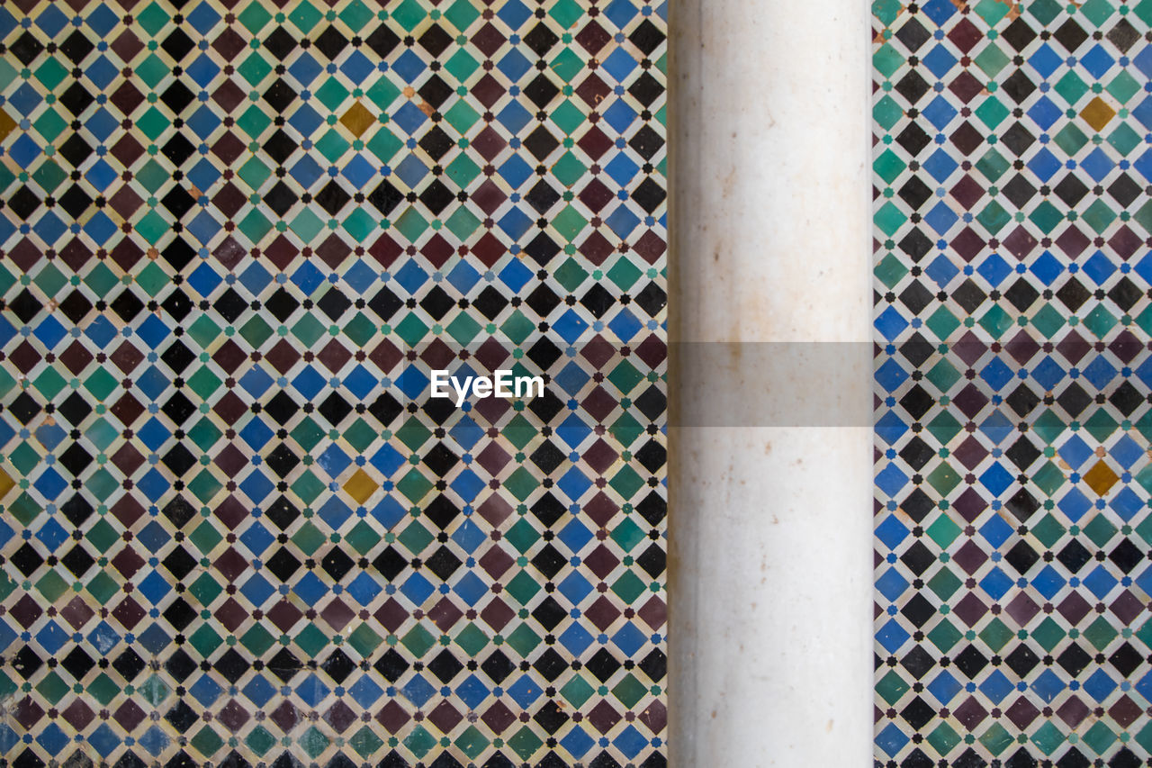 pattern, backgrounds, full frame, no people, close-up, design, day, metal, indoors, textured, wall - building feature, built structure, multi colored, shape, architecture, window, geometric shape, flooring, grid