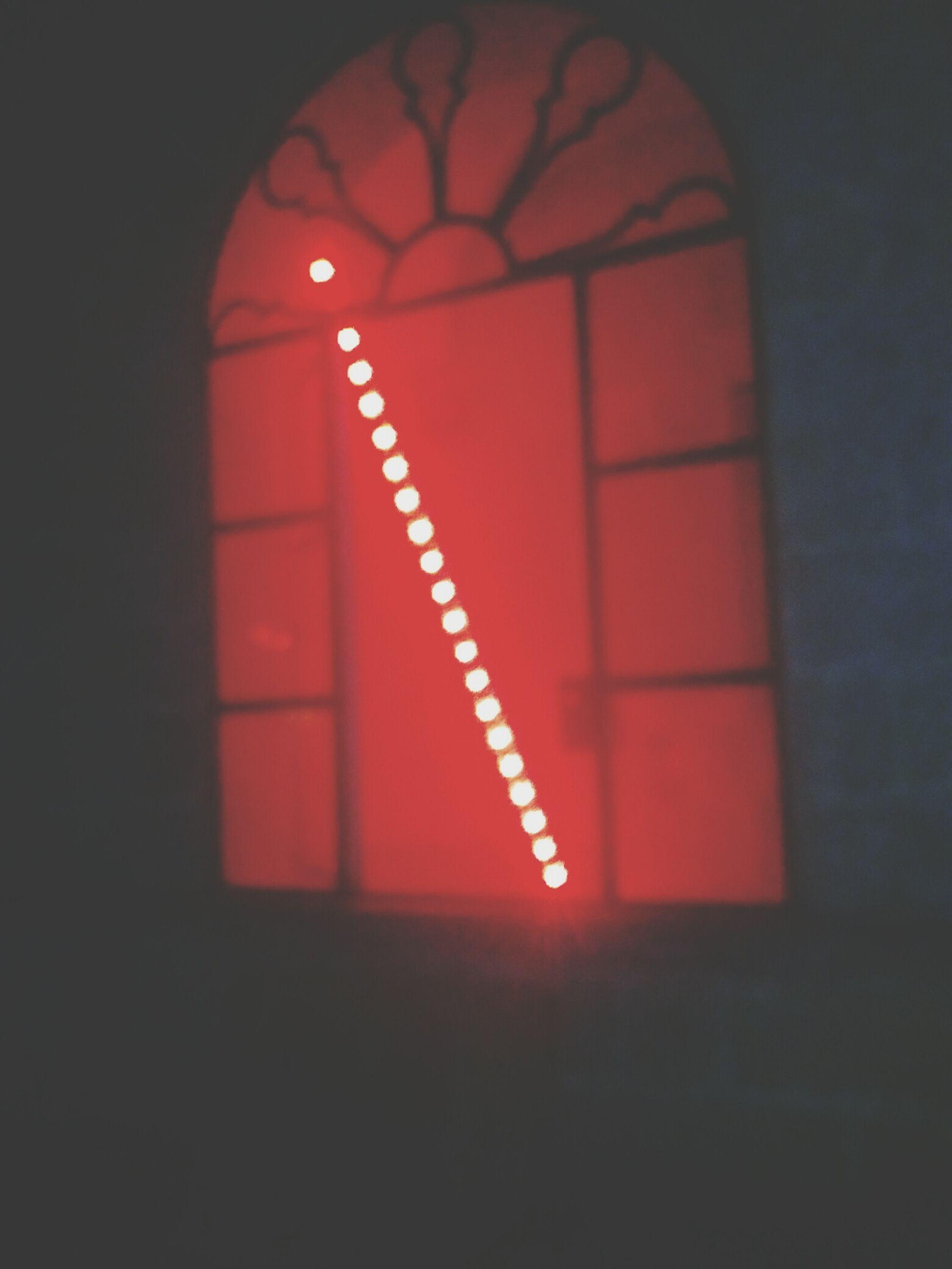 red, illuminated, close-up, no people, dark, geometric shape, vignette