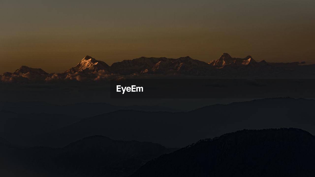 Mount trishul and nanda devi peaks from nainital uttarakhand india