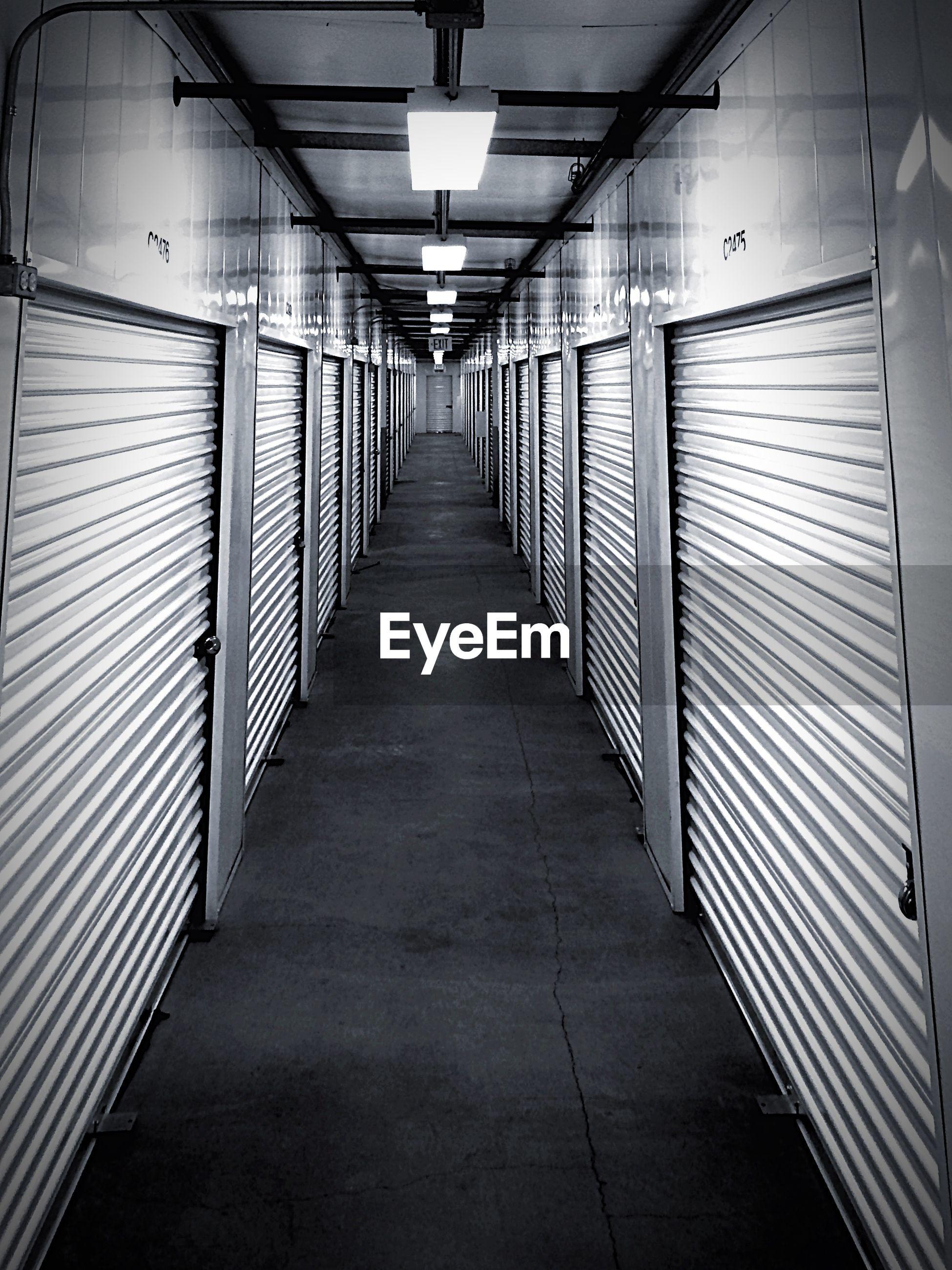 Corridor Amidst Closed Shop