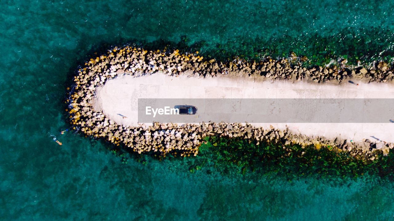 Aerial View Of Car On Pier