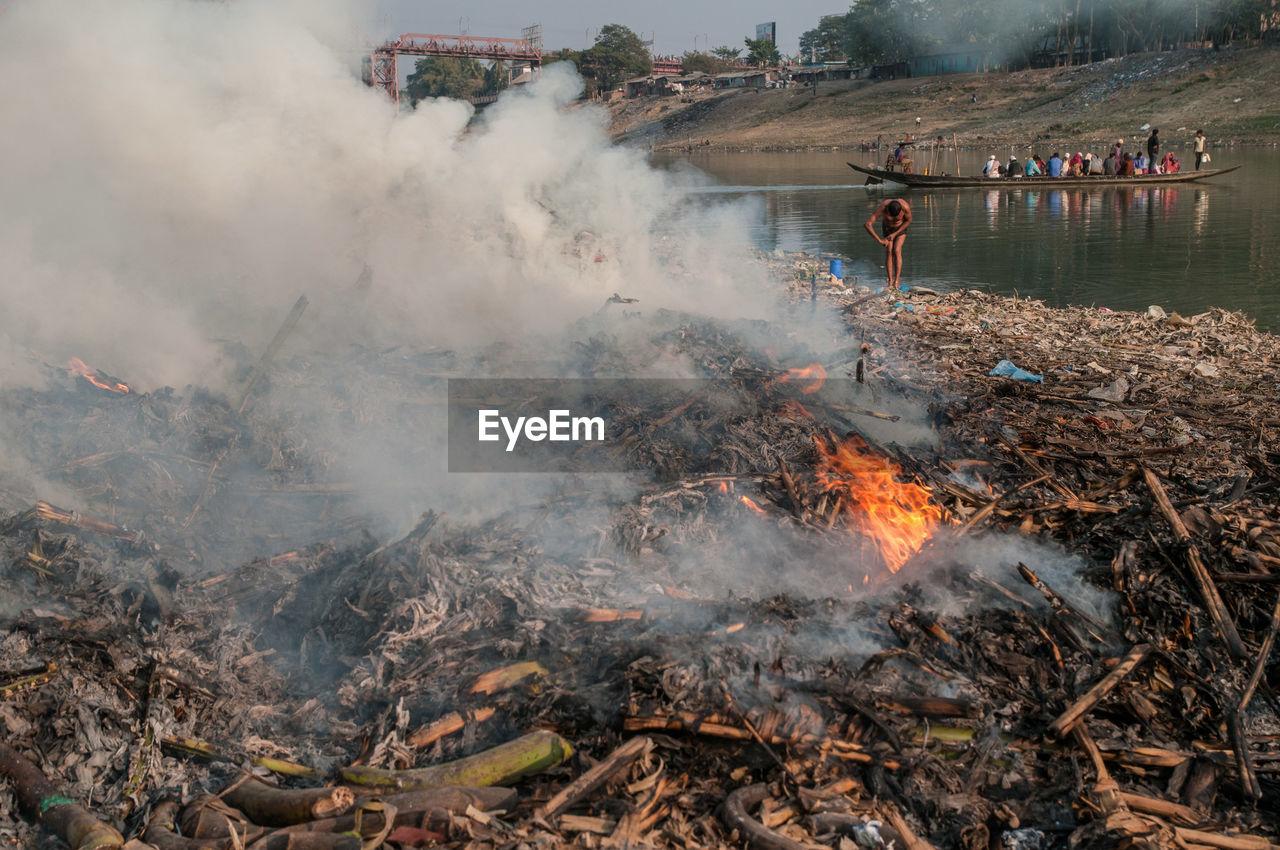 Garbage burning at lakeshore