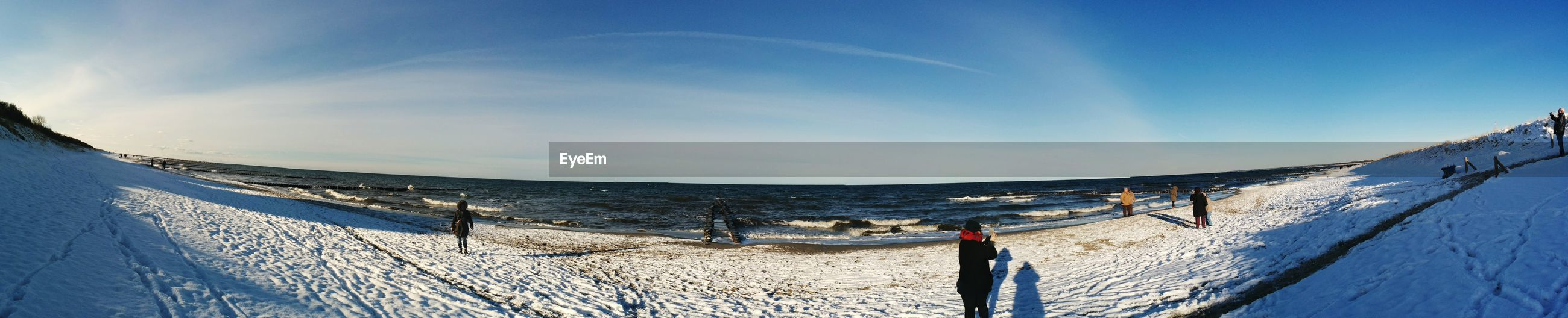 Panoramic view of sea against sky during winter