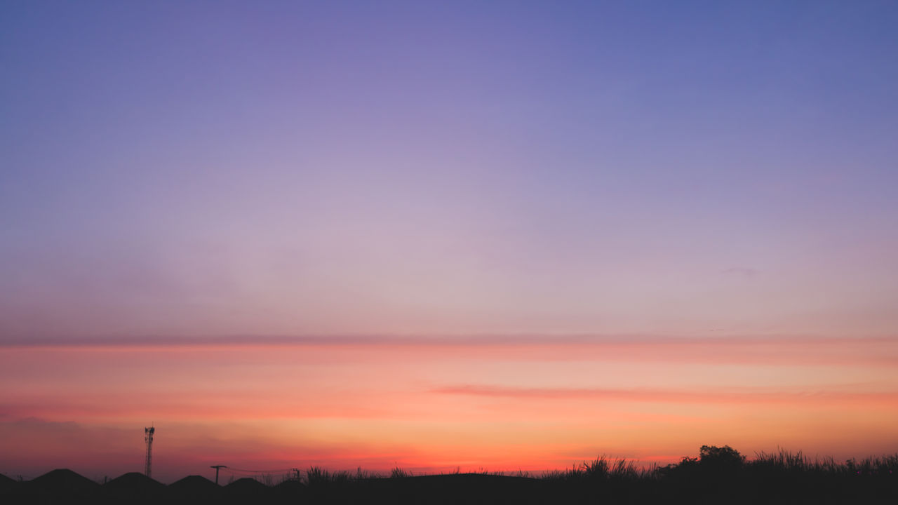 sunset, sky, orange color, scenics - nature, beauty in nature, silhouette, tranquil scene, tranquility, nature, copy space, cloud - sky, environment, no people, non-urban scene, idyllic, outdoors, landscape, tree, field, plant, purple, romantic sky