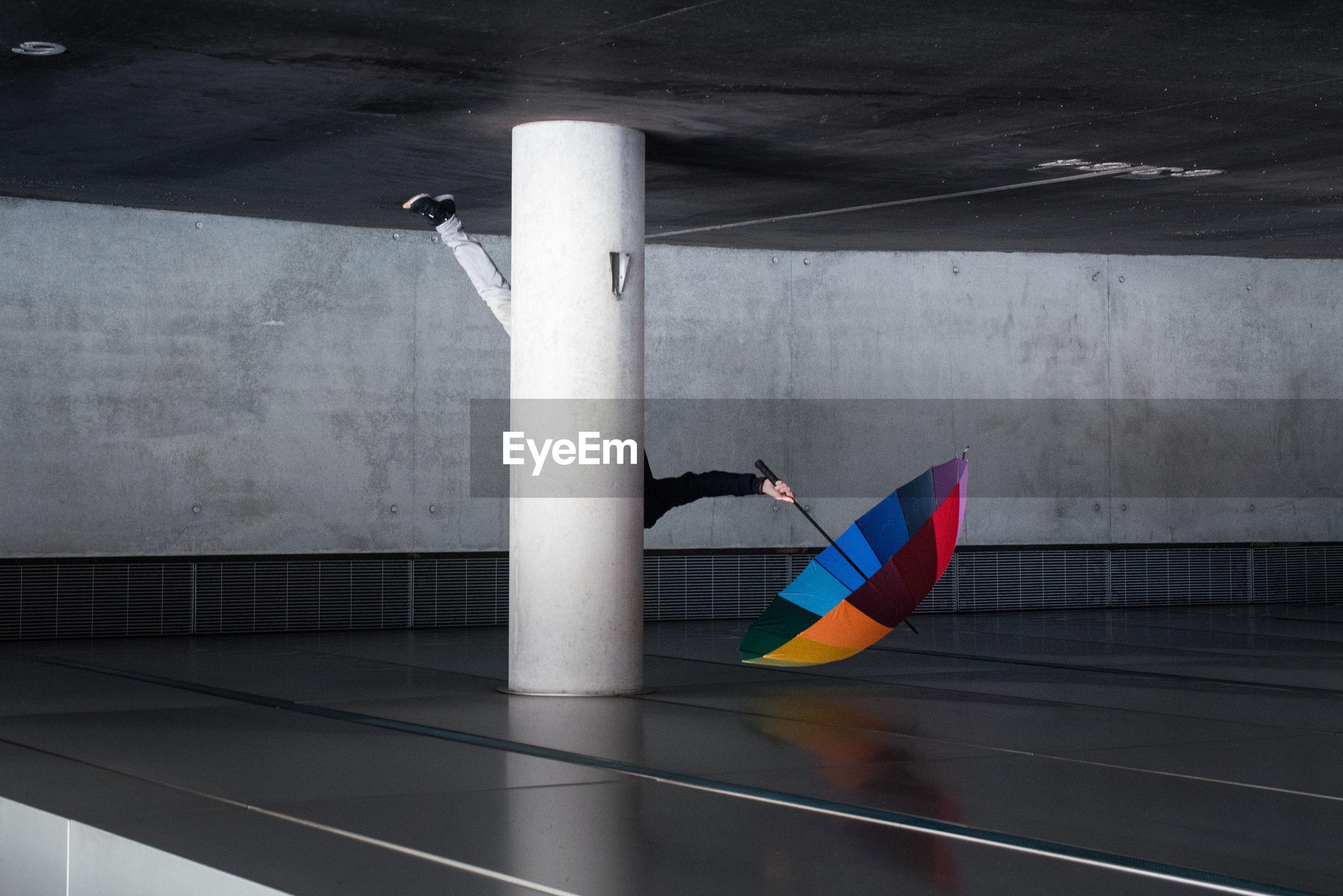 Umbrella on parking lot