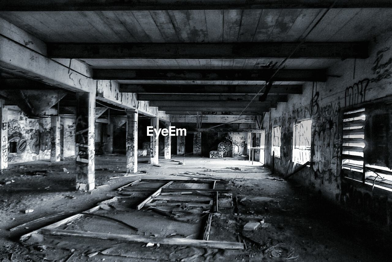 Interior of abandoned building