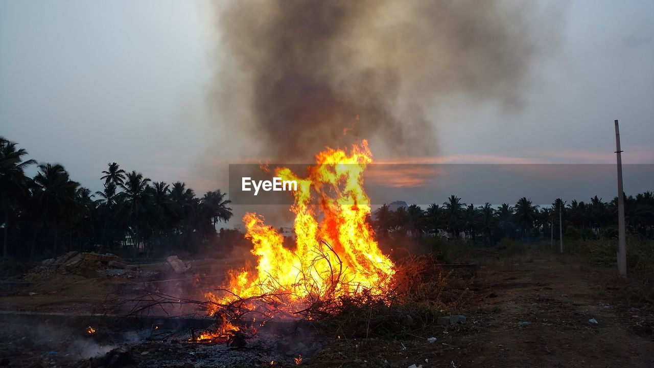 burning, fire - natural phenomenon, fire, smoke - physical structure, flame, heat - temperature, orange color, land, nature, no people, environment, field, sky, environmental issues, sign, tree, communication, plant, outdoors, warning sign, pollution, bonfire