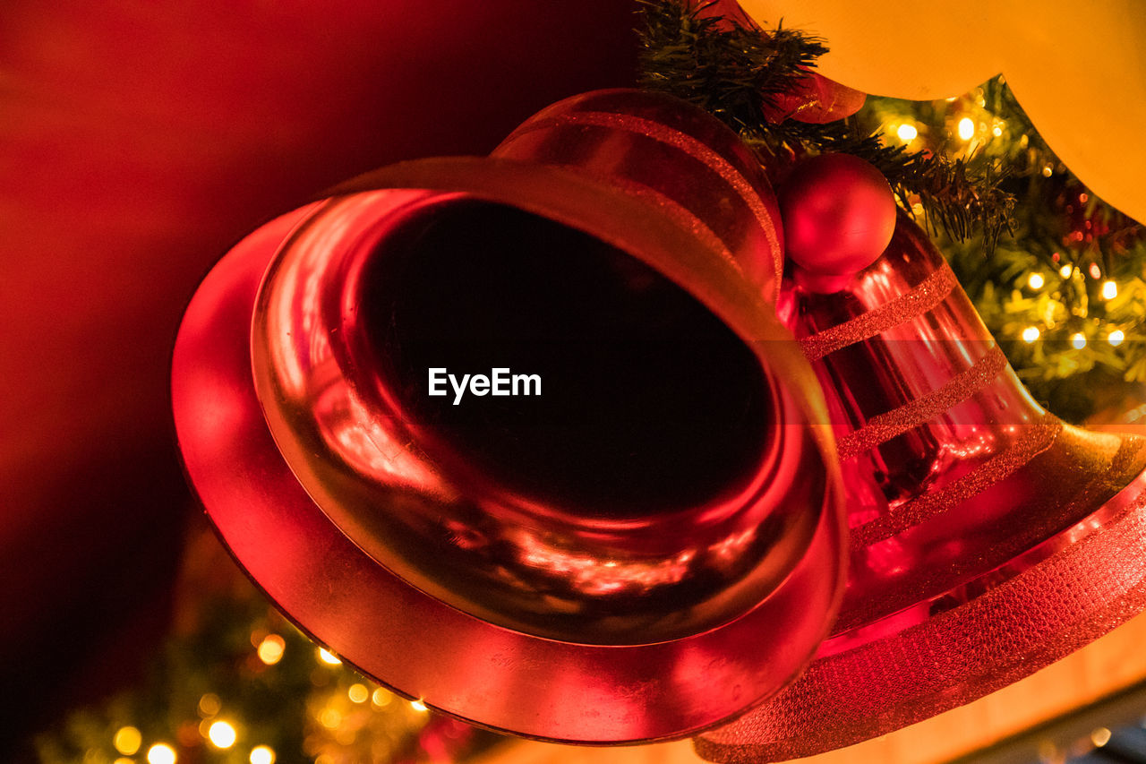 Close-Up Of Illuminated Christmas Decoration On Tree
