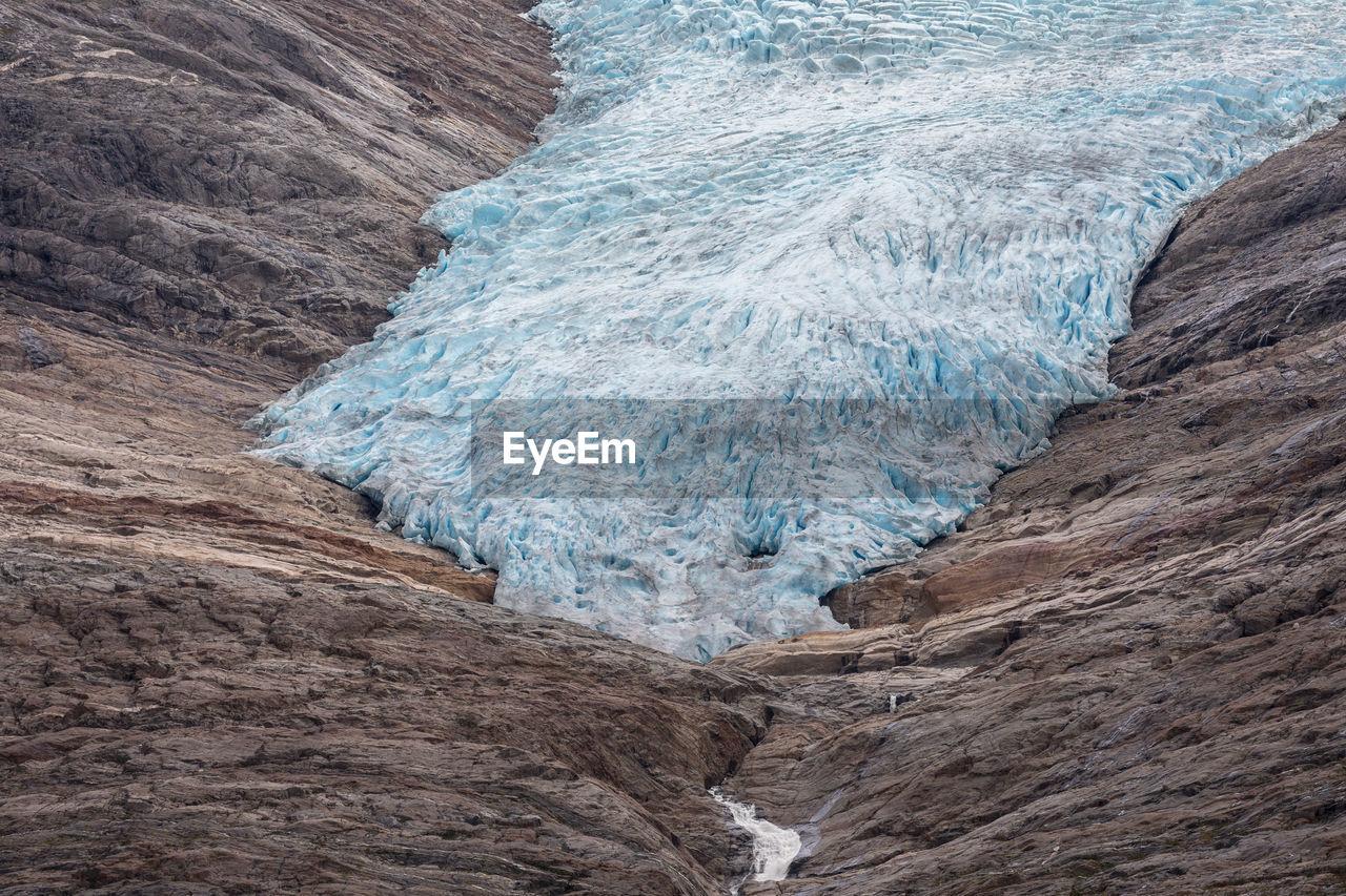 Glacier On Rock Formation