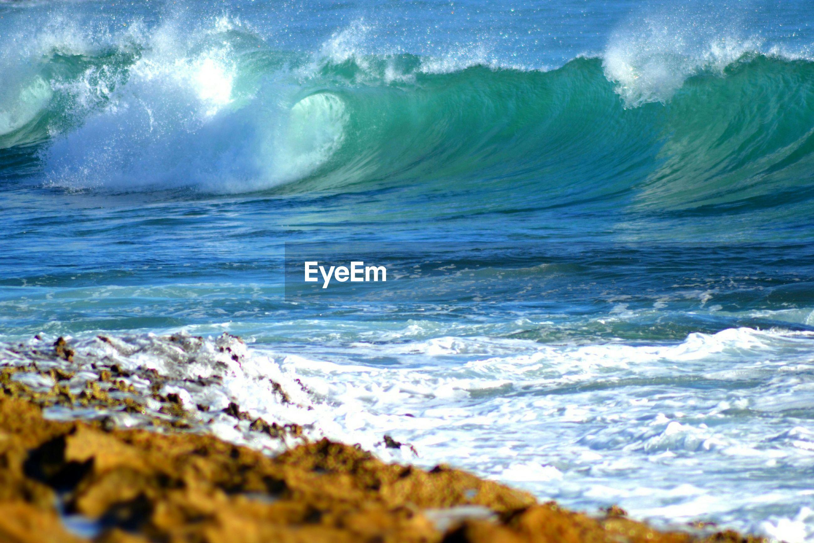 Sea waves leading towards shore