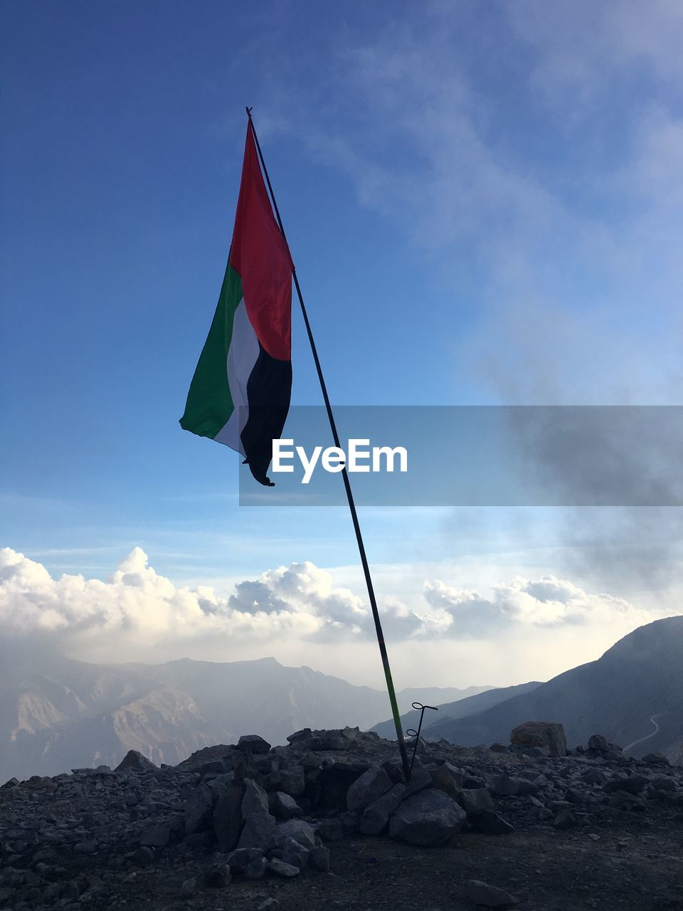 sky, cloud - sky, nature, day, flag, outdoors, mountain, no people, beauty in nature