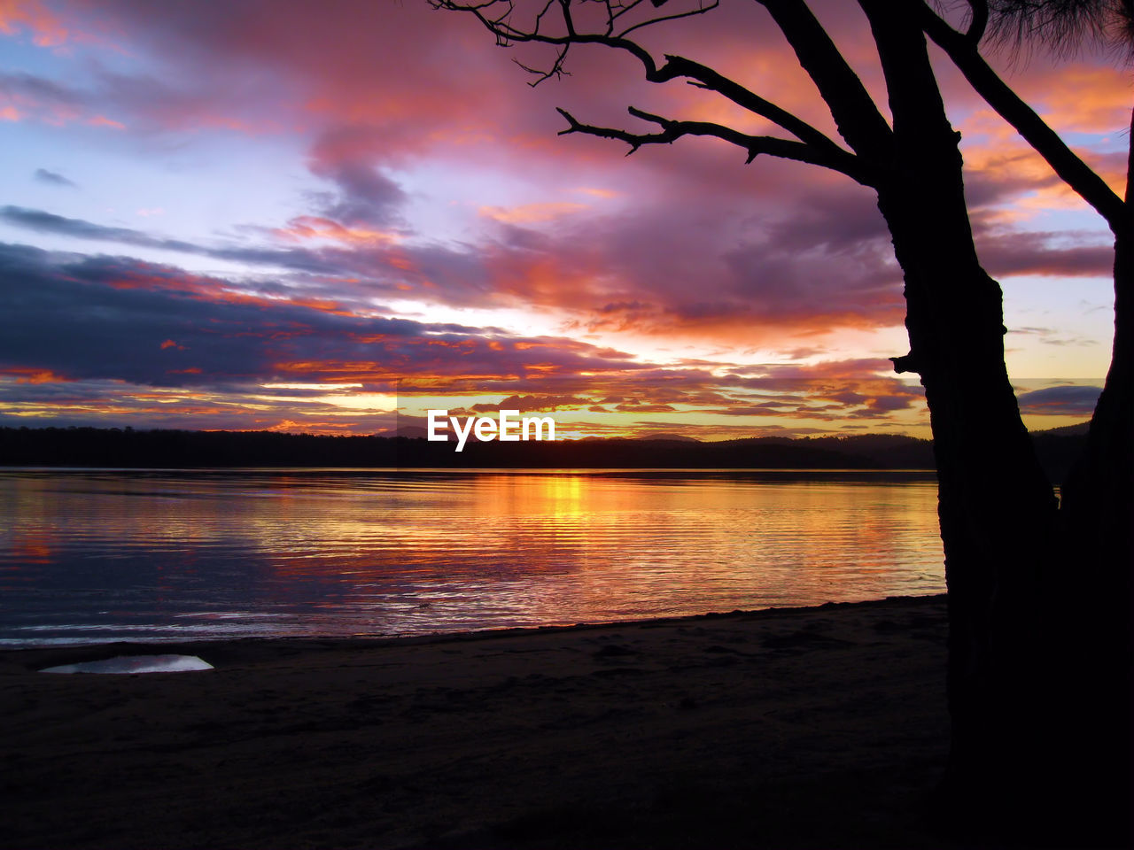 sunset, silhouette, beauty in nature, nature, scenics, orange color, sky, tranquil scene, tranquility, cloud - sky, dramatic sky, water, tree, no people, sea, outdoors