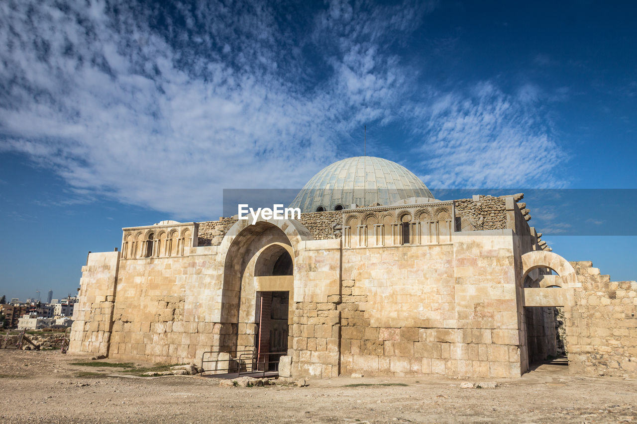 architecture, built structure, building exterior, dome, sky, history, religion, the past, nature, no people, cloud - sky, building, place of worship, belief, day, spirituality, travel destinations, outdoors, blue, ancient civilization, ruined
