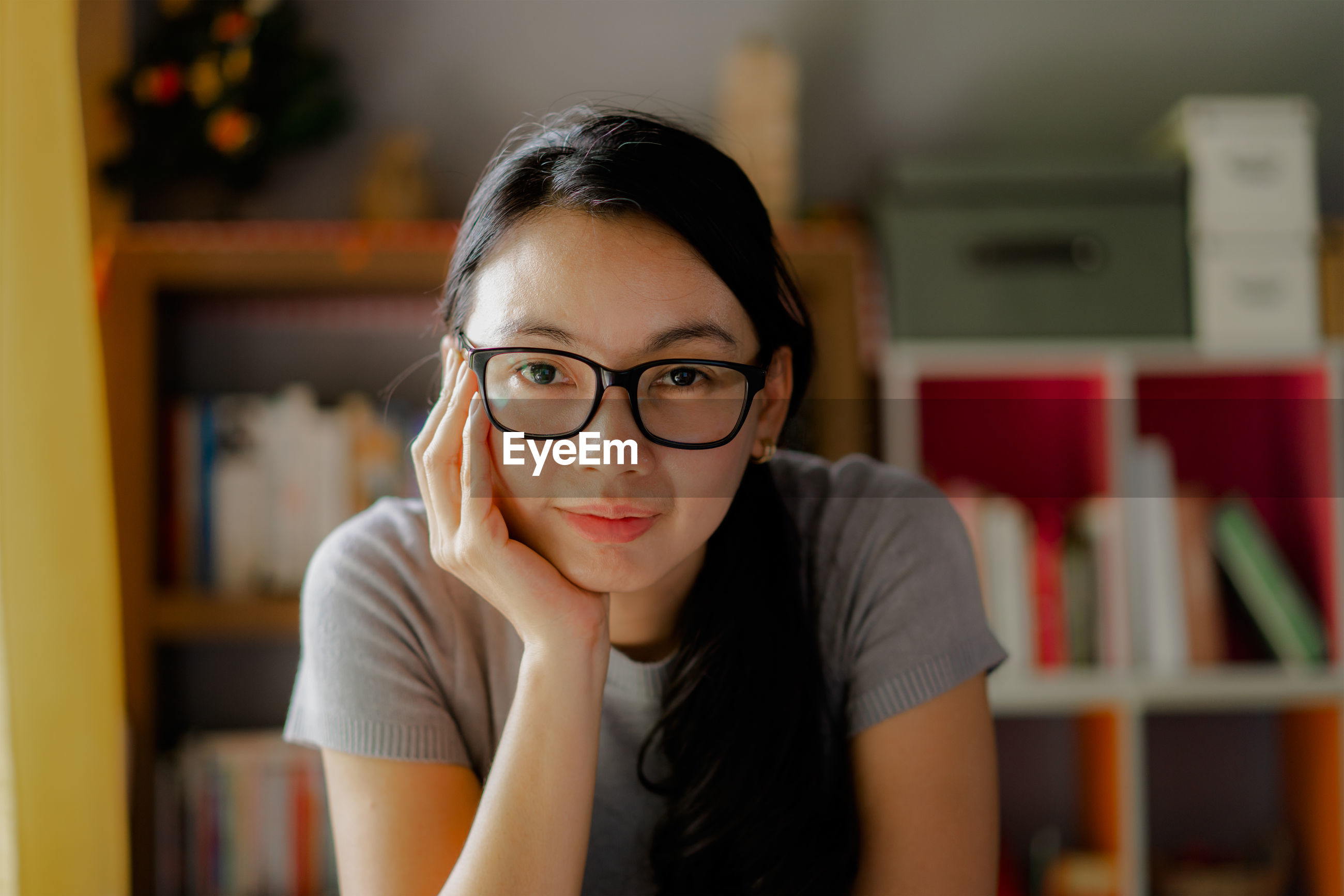 Business woman wearing glasses and smile
