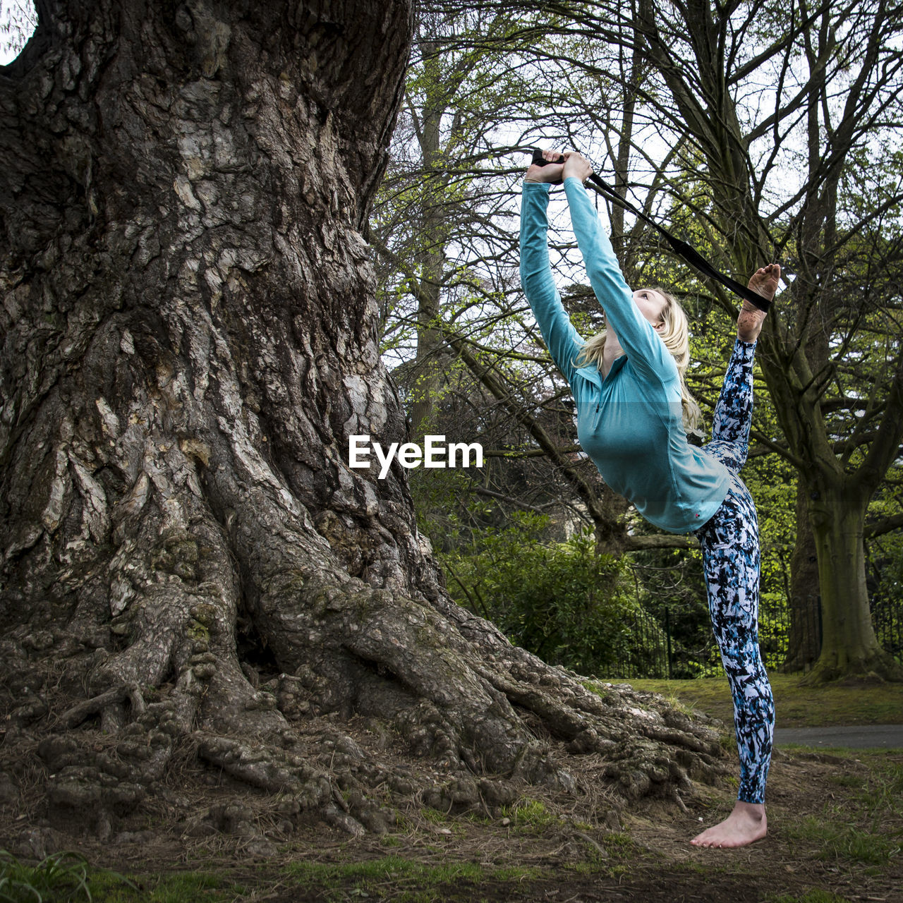 Young Woman Exercising By Tree At Park