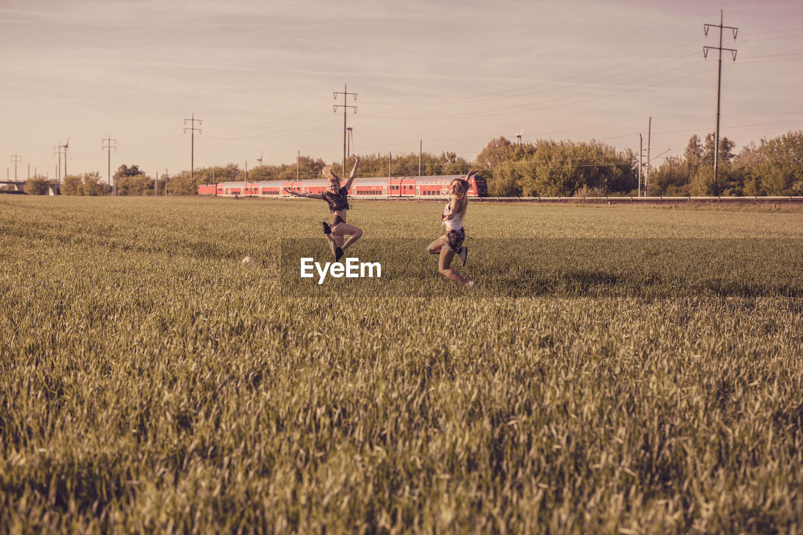 Friends enjoying on grassy field against sky