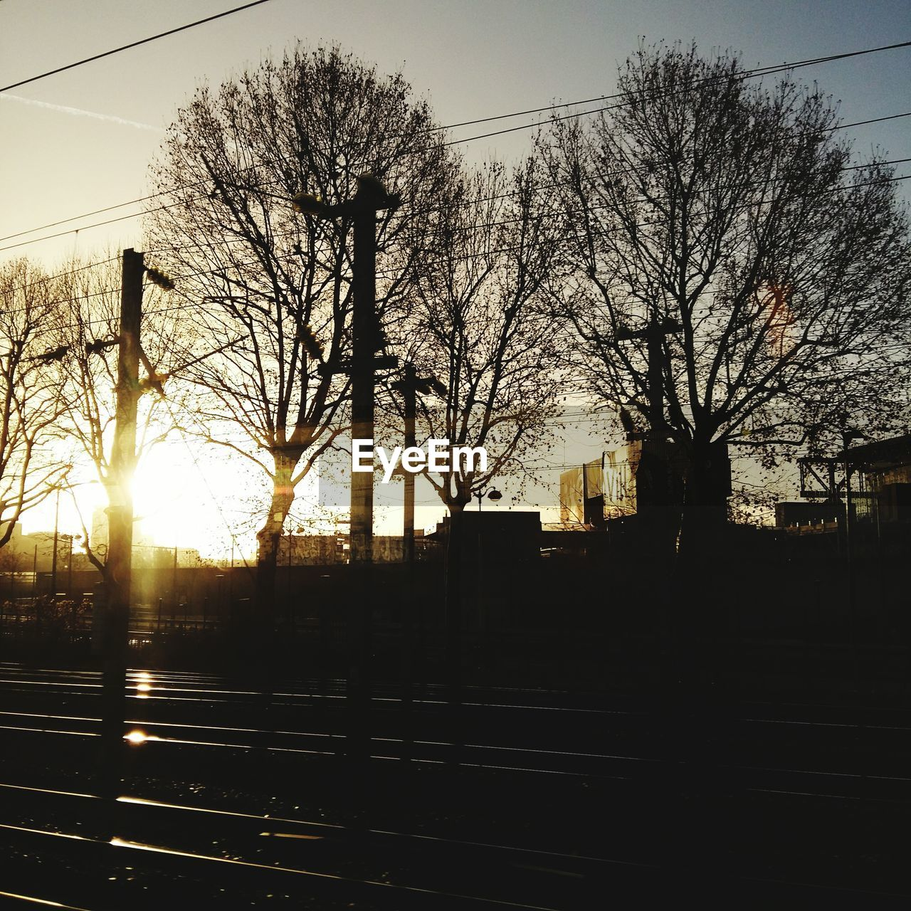 bare tree, tree, silhouette, sky, no people, outdoors, railroad track, transportation, sunset, clear sky, nature, day, architecture