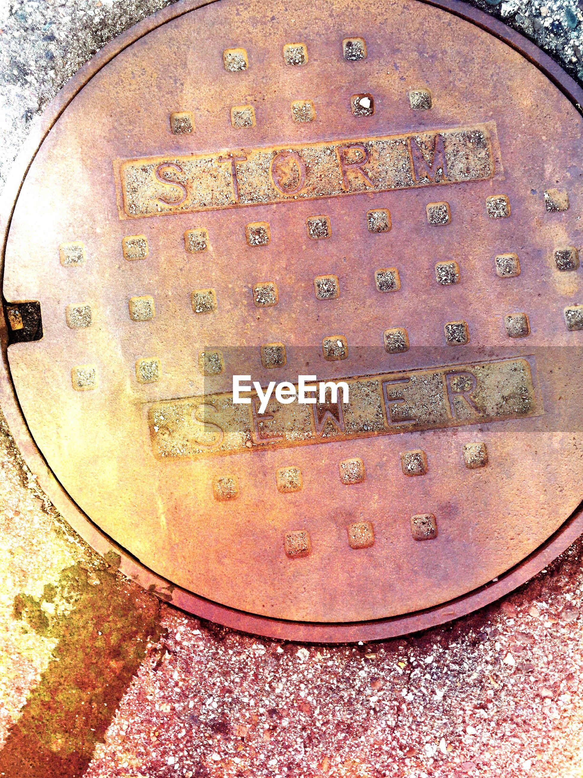 Close-up of manhole