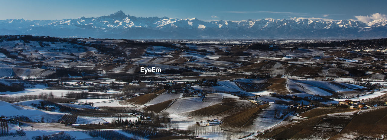 HIGH ANGLE VIEW OF SNOWCAPPED MOUNTAINS AGAINST SKY DURING WINTER