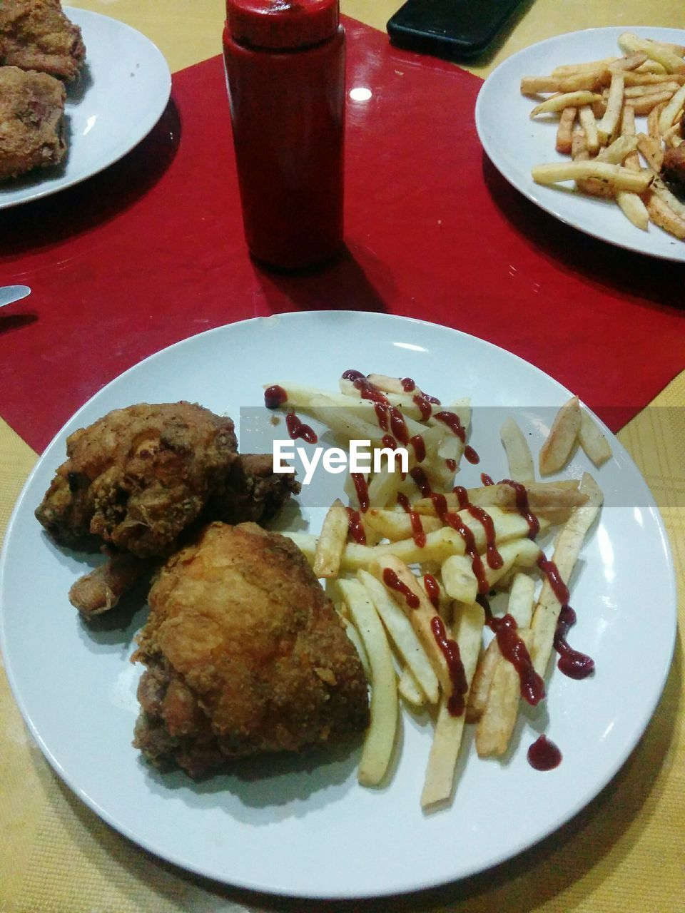 plate, food and drink, food, table, ready-to-eat, freshness, serving size, indoors, prepared potato, indulgence, no people, high angle view, healthy eating, fork, meat, close-up, meal, temptation, drink, deep fried, day