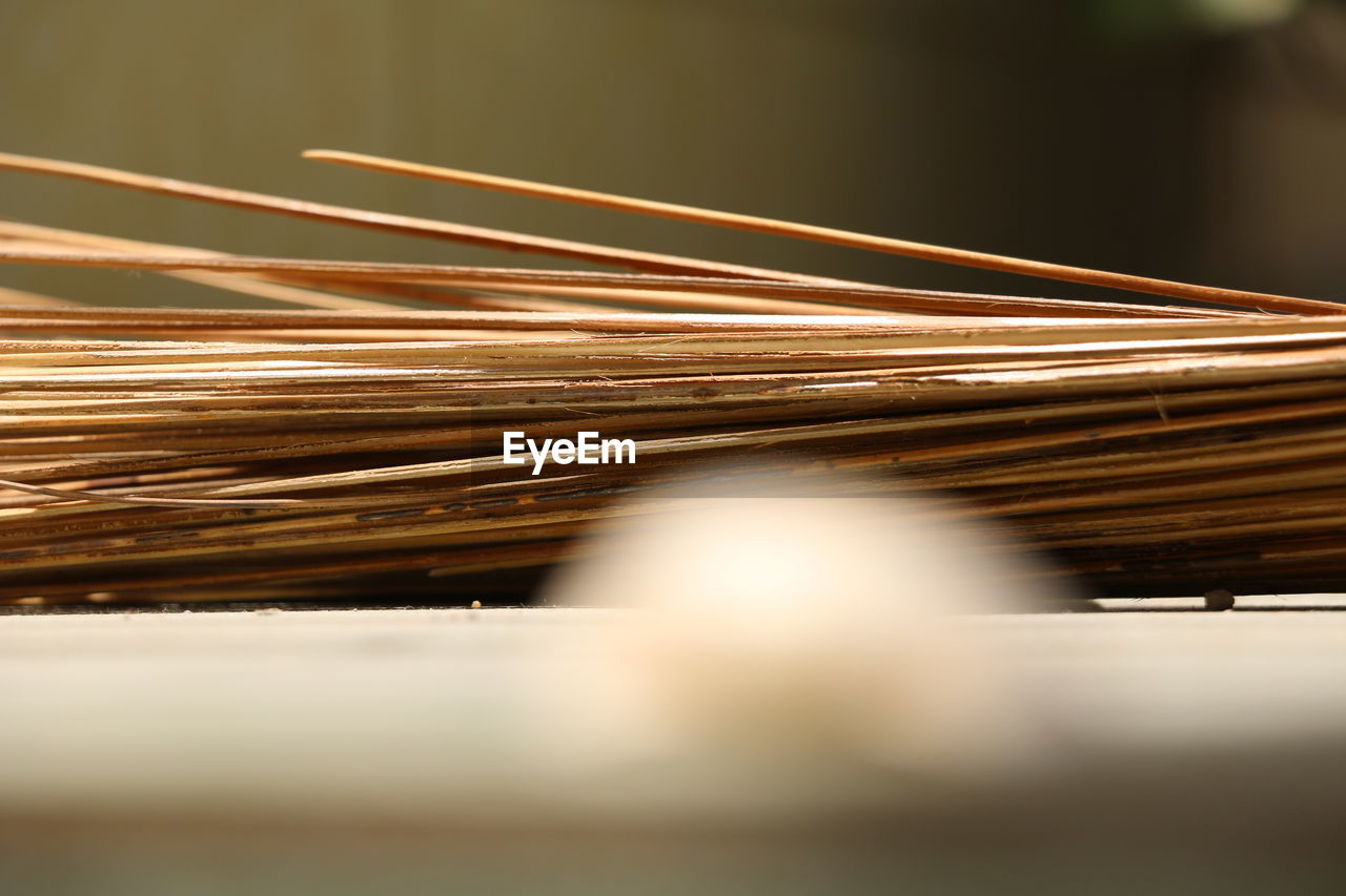 Close-up of sticks against blurred background