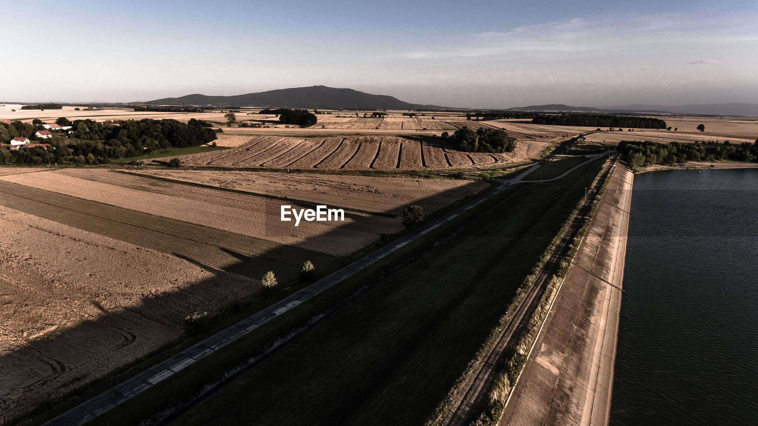 High angle view of agricultural fields