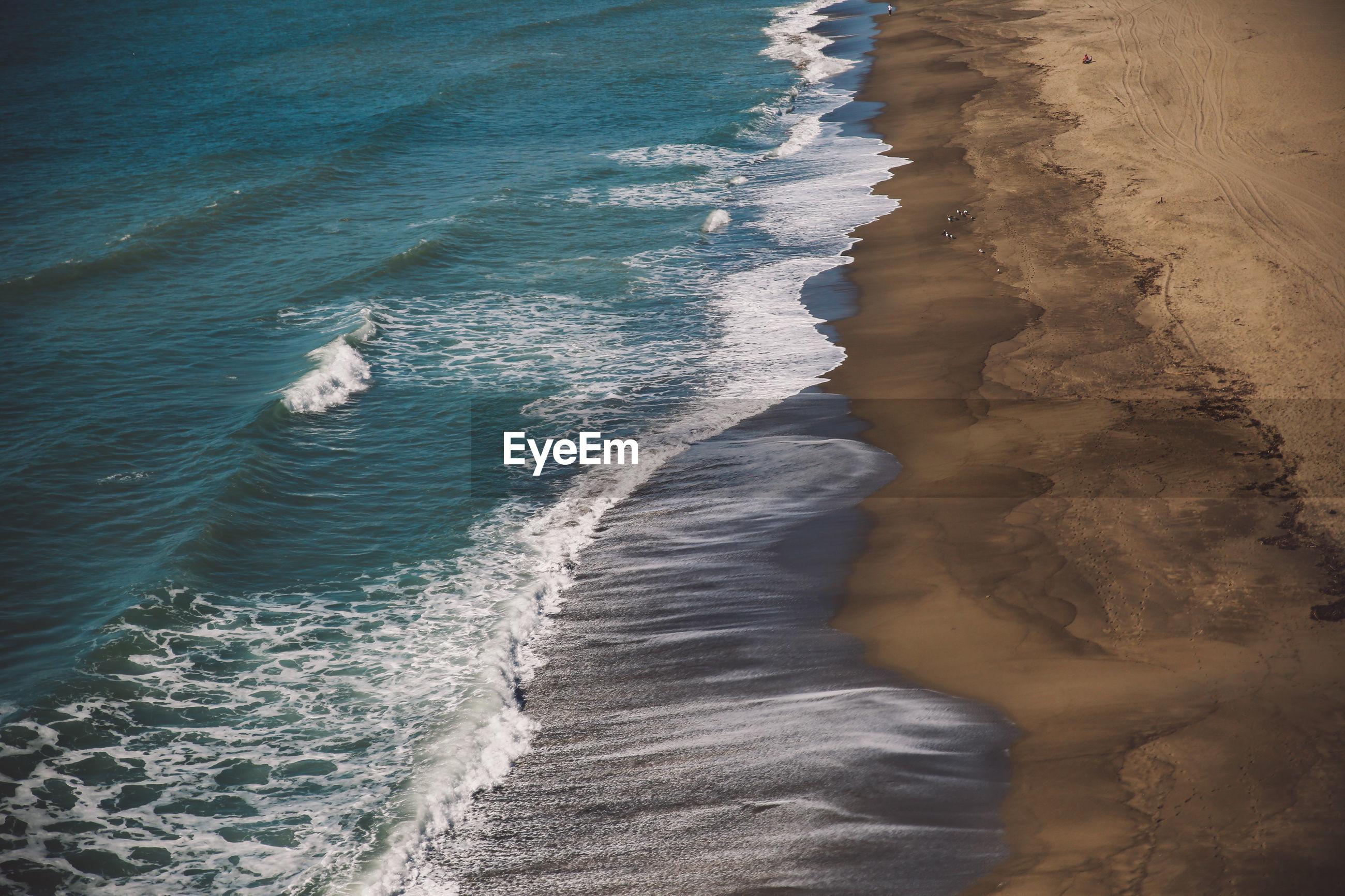 Aerial view of beach in malibu