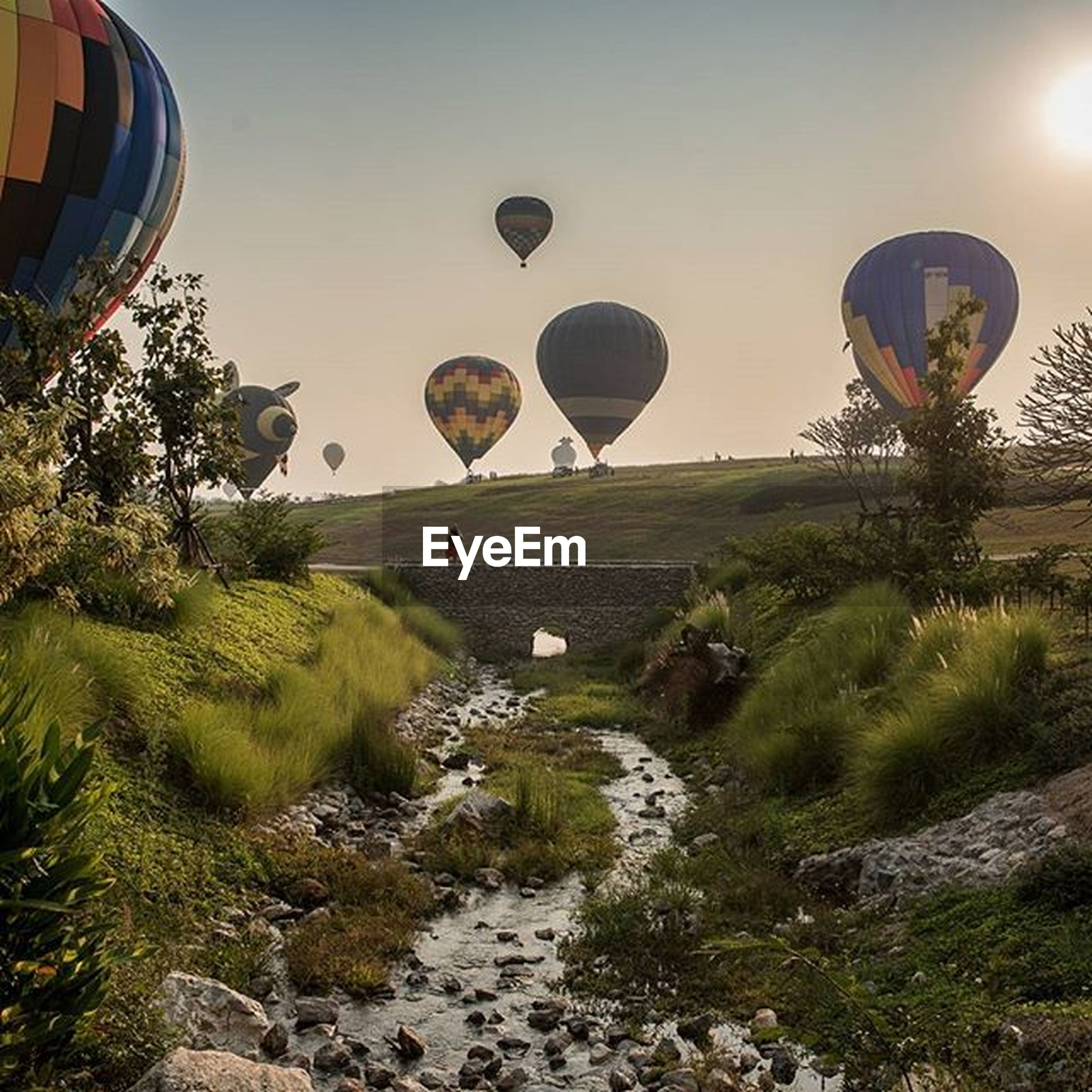 built structure, architecture, building exterior, sky, grass, clear sky, landscape, field, hot air balloon, circle, nature, tree, outdoors, incidental people, ferris wheel, tranquility, sport, tranquil scene, scenics, day